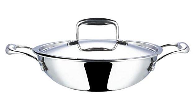 heavy bottom stainless steel kadai india