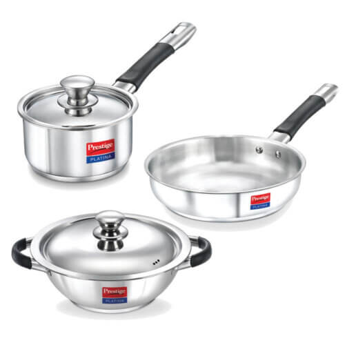4. Prestige Stainless Steel Cookware Set​