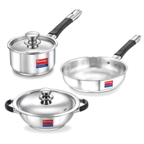 4. Prestige Stainless Steel Cookware Set